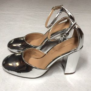 Silver pumps with ankle strap, women's size 6